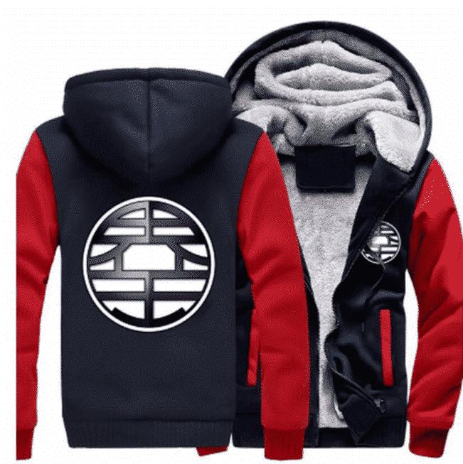Dragon Ball King Kai Kanji Symbol Red Navy Zipper Hooded Jacket