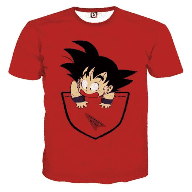 Dragon Ball Cute Goku Kid Pocket Simple Design Streetwear T-Shirt