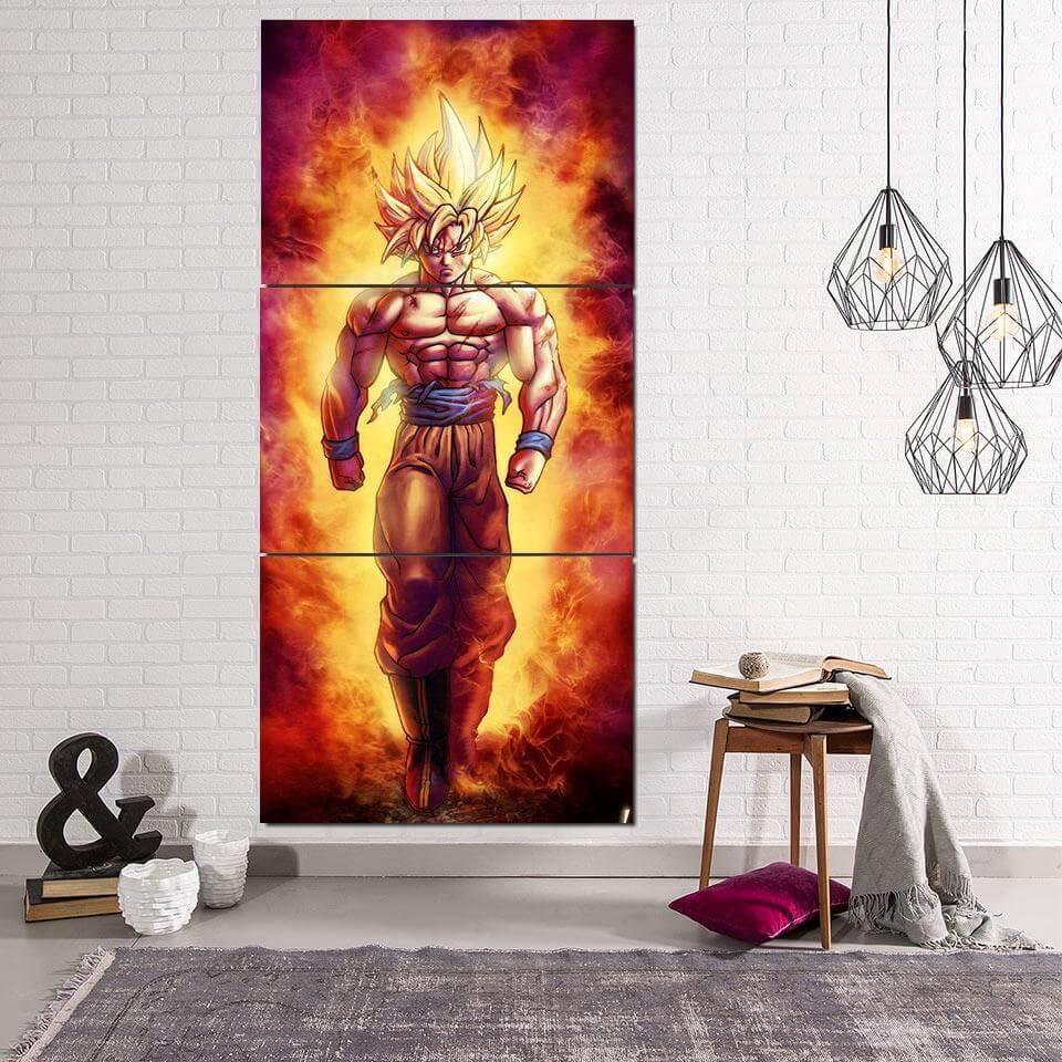 SSJ2 Son Goku Super Saiyan 2 Flame Fire 3PC Canvas Prints