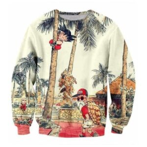 Palm Tree Cute Kid Goku Master Roshi Vintage Beige Sweater
