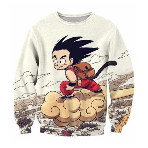 Flying Cute Kid Goku Cloud Nimbus Vintage Beige Sweatshirt