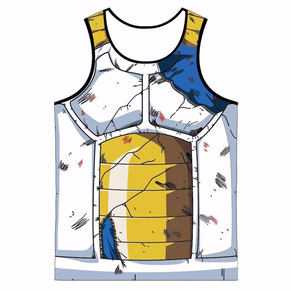 Vegeta Cell Saga Damaged Saiyan Armor Gym Tank Top