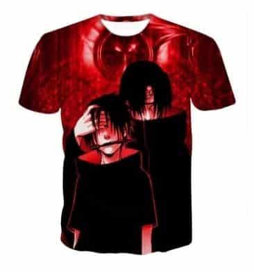 Brotherhood in Anime Sasuke and Itachi Uchiha Impressive Red T-shirt