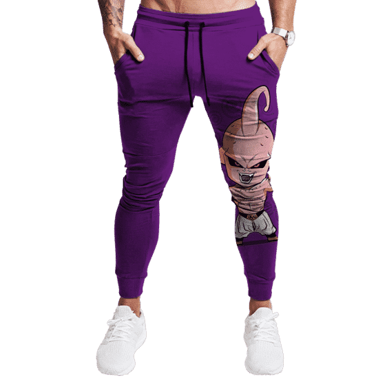 DBZ Chibi Majin Buu Purple Gym Workout Joggers Sweatpants