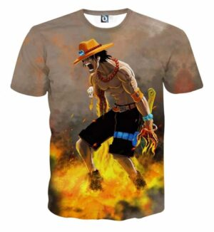 Flaming Ace One Piece Super Angry Impressive T-shirt