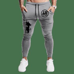 Goku Kanji And Kid Goku Silhouette Gray Workout Sweatpants
