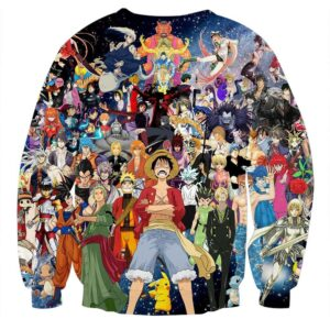 Japanese Anime Mix One Piece DBZ Pokemon Death Note Sweatshirt