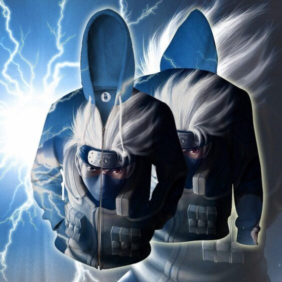 Kakashi Hatake Chidori Lightning Cut Vibrant Zip Up Hoodie