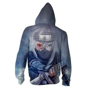 Kakashi Hatake Crying Sad Theme Full Print Zip Up Hoodie