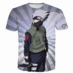Kakashi Hatake Naruto Anime Stripes Vintage Grey Clouds 3D T-Shirt