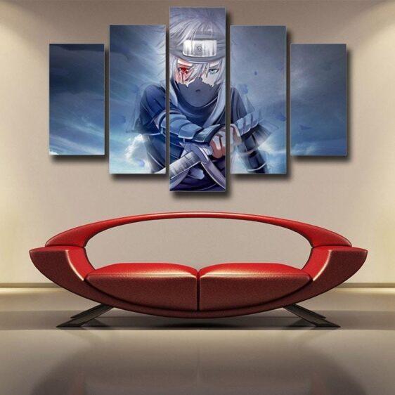 Kakashi Young Ninja Sharingan Fan Art Design 5pcs Wall Art