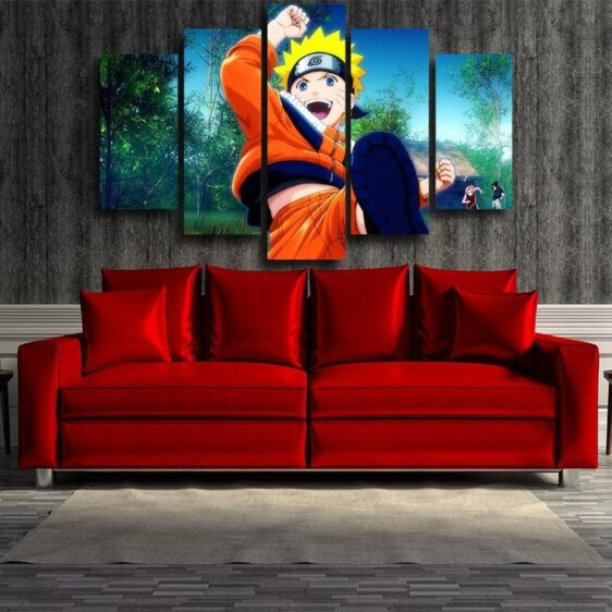 Lively Kid Naruto Uzumaki Fan Art 5pcs Wall Art Decor Canvas
