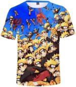 Multiple Shadow Clone Technique Kinjutsu Cute Naruto Blue Trendy T-shirt