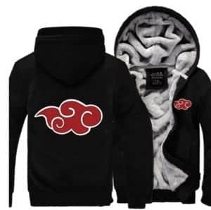 Naruto Akatsuki Red Clouds Symbol of Justice All Black Hooded Jacket