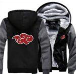 Naruto Akatsuki Red Clouds Symbol Of Justice Gray Black Hooded Jacket