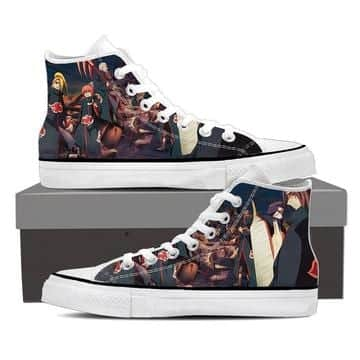 Naruto Anime Akatsuki Clan Revival Cool Black Sneakers Shoes