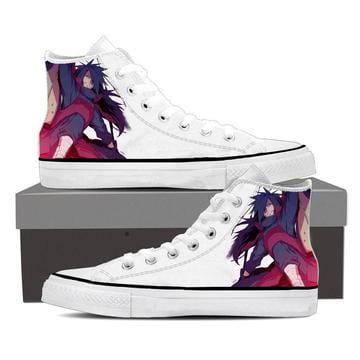 Naruto Anime Madara Uchiha Fanart Print White Sneakers Shoes