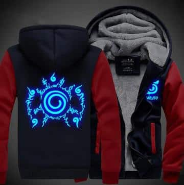 Naruto Cool Top Cursed Seal Blue Luminous Red Navy Hooded Jacket