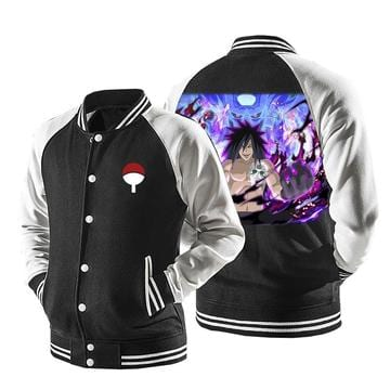 Naruto Evil Uchiha Madara Laugh Susanoo Black Baseball Jacket