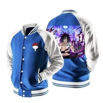 Naruto Evil Uchiha Madara Laugh Susanoo Blue Baseball Jacket