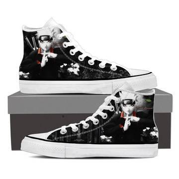 Naruto Jinchuuriki Legend Ninja Fan Art Black Sneakers Shoes
