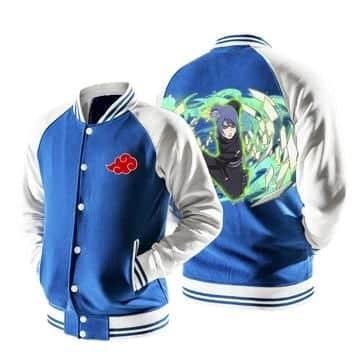 Naruto Konan Akatsuki Powerful Kunoichi Blue Baseball Jacket