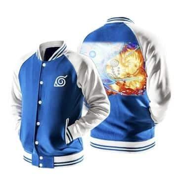 Naruto Nine-tails Chakra Rasenshuriken Blue Baseball Jacket