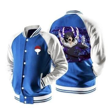 Naruto Screaming Uchiha Sasuke Painful Blue Baseball Jacket