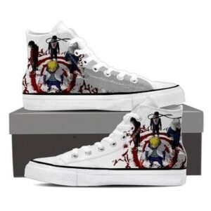 Naruto Shippuden Konoha Village Hokage White Sneakers Shoes