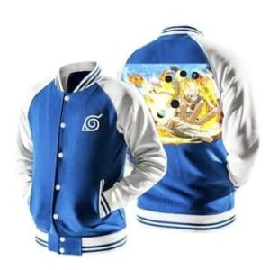 Naruto Six Path Sage Mode Konoha Symbol Blue Baseball Jacket