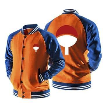 Naruto Uchiha Clan Logo Konohagakure Orange Baseball Jacket
