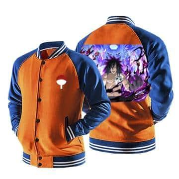 Naruto Uchiha Madara Laugh Susanoo Orange Baseball Jacket