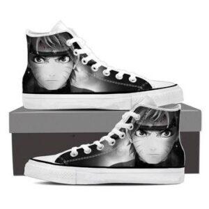 Naruto Uzumaki Face Portrait Black and White Sneakers Shoes