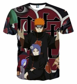 Naruto Akatsuki Evil Mercenary Ninja Group Print T-Shirt