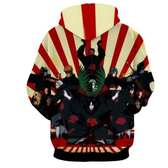 Naruto Akatsuki Funny Group Pose Design Anime Theme Hoodie