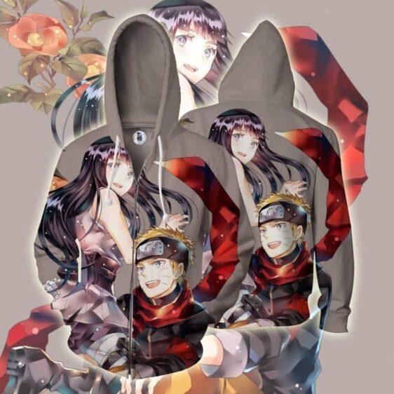 Naruto And Hinata Happy Couple Full Print Zip Up Hoodie