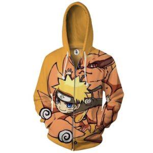 Naruto And Kumara Cute Chibi Design Full Print Zip Up Hoodie
