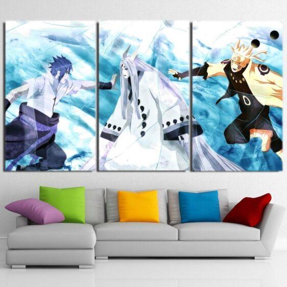 Naruto And Sasuke Vs Kaguya Otsutsuki Blue Ice 3pcs Wall Art