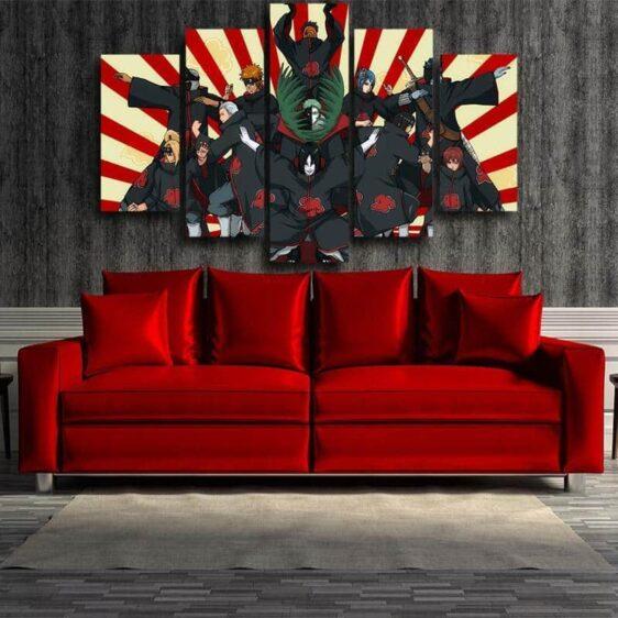 Naruto Anime Akatsuki Funny Group Pose Design 5pcs Canvas