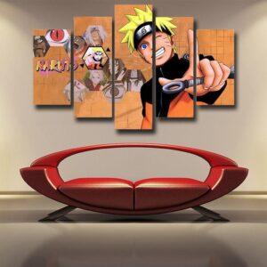 Naruto Anime Cute Smiling Uzumaki Cool Orange 5pcs Wall Art