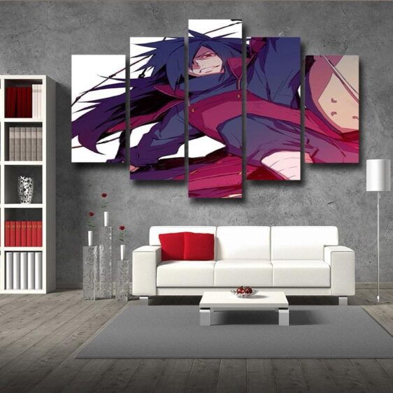 Naruto Anime Madara Uchiha Grin Fan Art White 5pcs Wall Art