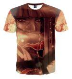 Naruto Anime Uchiha Itachi Akatsuki Sharingan Brown T-Shirt