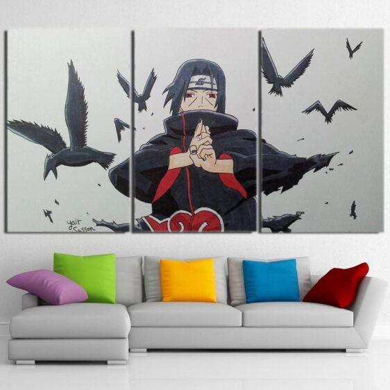 Naruto Anime Uchiha Itachi Jutsu Hand Sign White 3pcs Canvas