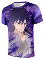 Naruto Anime Uchiha Sasuke With Bleeding Eye Violet T-Shirt