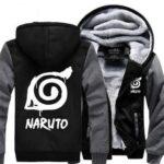 Naruto Cool Hidden Leaf Village Symbol Gray Black Hooded Jacket