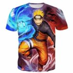 Naruto Fighting Red Blue HD 3D Space Summer T-Shirt