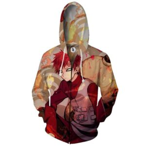 Naruto Gaara Handsome Portrait Amazing Print Zip Up Hoodie
