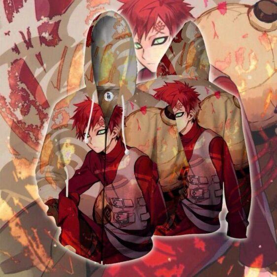 Naruto Gaara Handsome Portrait Amazing Print Zip Up Hoodie