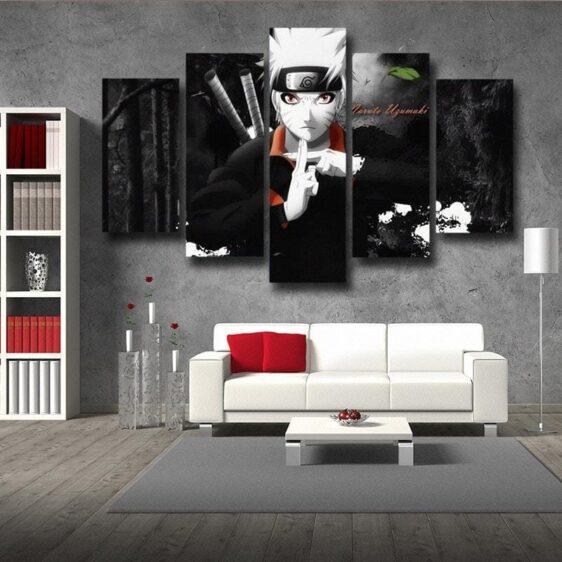 Naruto Jinchuuriki Legend Ninja Fan Art Black 5pcs Wall Art