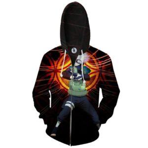 Naruto Kakashi Hatake Copy Ninja Cool Streetwear Zip Up Hoodie